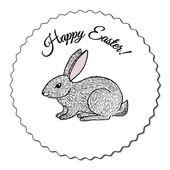 Cute hand drawn bunny label - Easter design element — Vector de stock