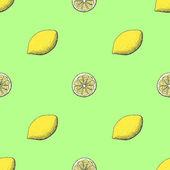Juicy and fresh lemon seamless pattern — Stock Vector