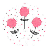 Lovely hand drawn illustration of three flowers with watercolor  — 图库矢量图片