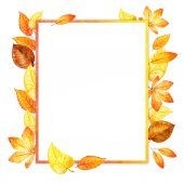 Watercolor leaves square frame. paper — Stock Photo