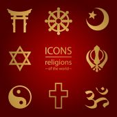 Religions of the world. icons set — Stock Vector
