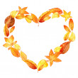 Heart from leaves. autumn. watercolor — Stock Photo #52477353