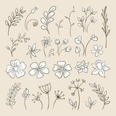 Doodle elements for design. Flowers, buds, leaves. — Stock Vector