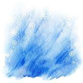 Fond d'aquarelle hiver. lumière de ciel bleu avec des flocons de neige tombant — Vecteur