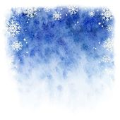 Winter watercolor background. Blue sky with falling snowflakes — 图库矢量图片