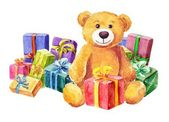 Teddy bear sits on a background of gifts. Watercolor — Stockvector
