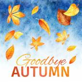 Watercolor leaves. Goodbye Autumn — Vetorial Stock