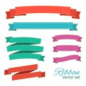 Vector set of ribbons vintage style for design — Stock Vector