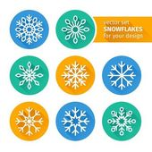 Set of icons snowflakes flat design 2 — Stock Vector