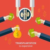 Transplantation. buying agencies. infographic — Stock Vector