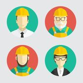 Building trades. Avatar builder, engineer. Flat design. Vector illustration. — Stock Vector