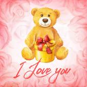 Greeting card. Teddy bear with a gift on a background of pink roses. Watercolor vector illustration. — ストックベクタ