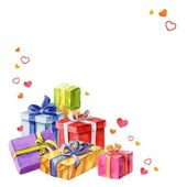 Gifts for Valentines Day. watercolor illustration. vector — Stock Vector