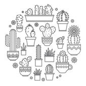 Linear design, potted cactus. elements of a corporate logo. Vector — Stok Vektör