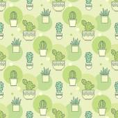 Pattern of cacti. Linear illustration. vector — Stok Vektör