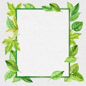 Square frame made of spring leaves in watercolor on the texture of canvas. Hand-painted design elements. — Stock Vector