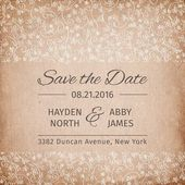 Save the date wedding invitation template. vintage paper texture.. vector illustration — Stock Vector