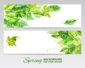 Horizontal background with green leaves and blots of paint. watercolor vector — Stock Vector