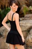 Black Dress - Professional Model - Nice Background — Stock Photo