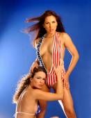 Red White and Blue All American Girls — Stock Photo