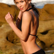 Постер, плакат: Black Skimpy Bikini Supermodel Eva Nadenchova Ocean Waves Rock Background