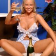 Blue Lace Teddy - Champagne Drinking Blonde — Stock Photo #52405825