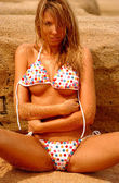 Multicolored Polka-dot String Bikini - about to fall off this Sandy Haired Model — Stock Photo