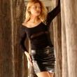 Black Lace Sleeve Top - Shiny Leather Skirt - Tall Brunette — Stock Photo #52418237