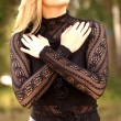Black Lace Sleeve Top - Tall Brunette — Stock Photo #52418353