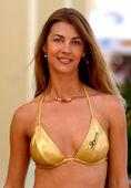 Shiny Gold Skimpy Bikini - Professional Brunette Model — Stock Photo