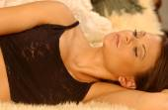 Black Sexy Pajamas - Bedroom Studio - Gorgeous Brunette — Stock Photo