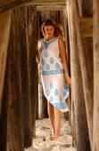 White Sundress with Blue Print - Tall Brunette — Stock Photo