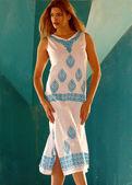 White Sundress with Blue Print - Tall Brunette — Stok fotoğraf