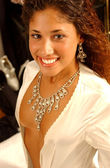 Pretty Bronzed Brunette - Satin Robe - Silver Jewelery Necklace and Earrings — Stock Photo