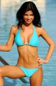 Blue Skimpy String Bikini - Blue Pool Background - Front View — Foto Stock