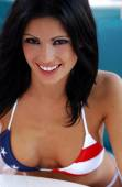 Red White and Blue Skimpy String Bikini - Playboy Model Laura Croft — Stock Photo