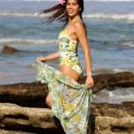 Fun Green 3 Piece  - Adorable Brazilian Brunette — Stock Photo #53397619