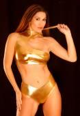Attractive sexy model in Bikini  swimsuit — Stock Photo