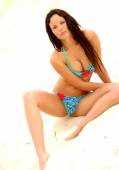 Supermodel Hot Brunette - Blue Bikini — Foto Stock