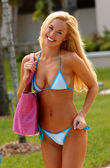 Light Blue Bikini - Dark Blue Strings - Stunning Blond — Foto de Stock