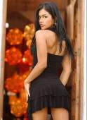 Miss Peru 2005 - Black Dress - Outdoor setting — Stock Photo