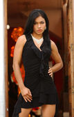 Miss Peru 2005 - Black Dress - Outdoor setting — Stock Photo