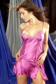 Satin Pink with Lace Lingerie Slip — Stock Photo