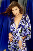 Bright Colored Blue Flowered Sleepwear — Stock Photo