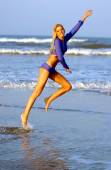 Dancing - Exercise - Aerobics - Sheer Wet Outfit - Ocean Beach Waves Background — Stock Photo