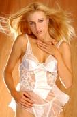 Sheer Lace and Satin Lingerie - Stunning Blond — Stock Photo