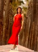 Red Dinner Dress - Palm Tree Walkway -  Playboy Model Miss St. Augustine — Stock Photo