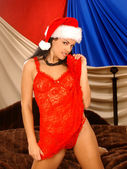 Christmas Santa Hat - Red Lace Rapped Sexy Brunette — Stock Photo