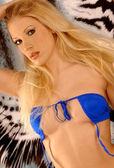 Stunning Slim Long Haired Blond - Blue Skimpy String Bikini — Stock Photo