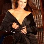Satin Black Robe - Professional Brunette Model — Stock Photo #54060121